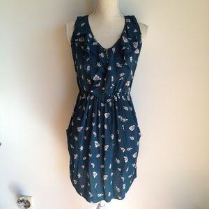 Rebecca Taylor silk floral ruffle dress